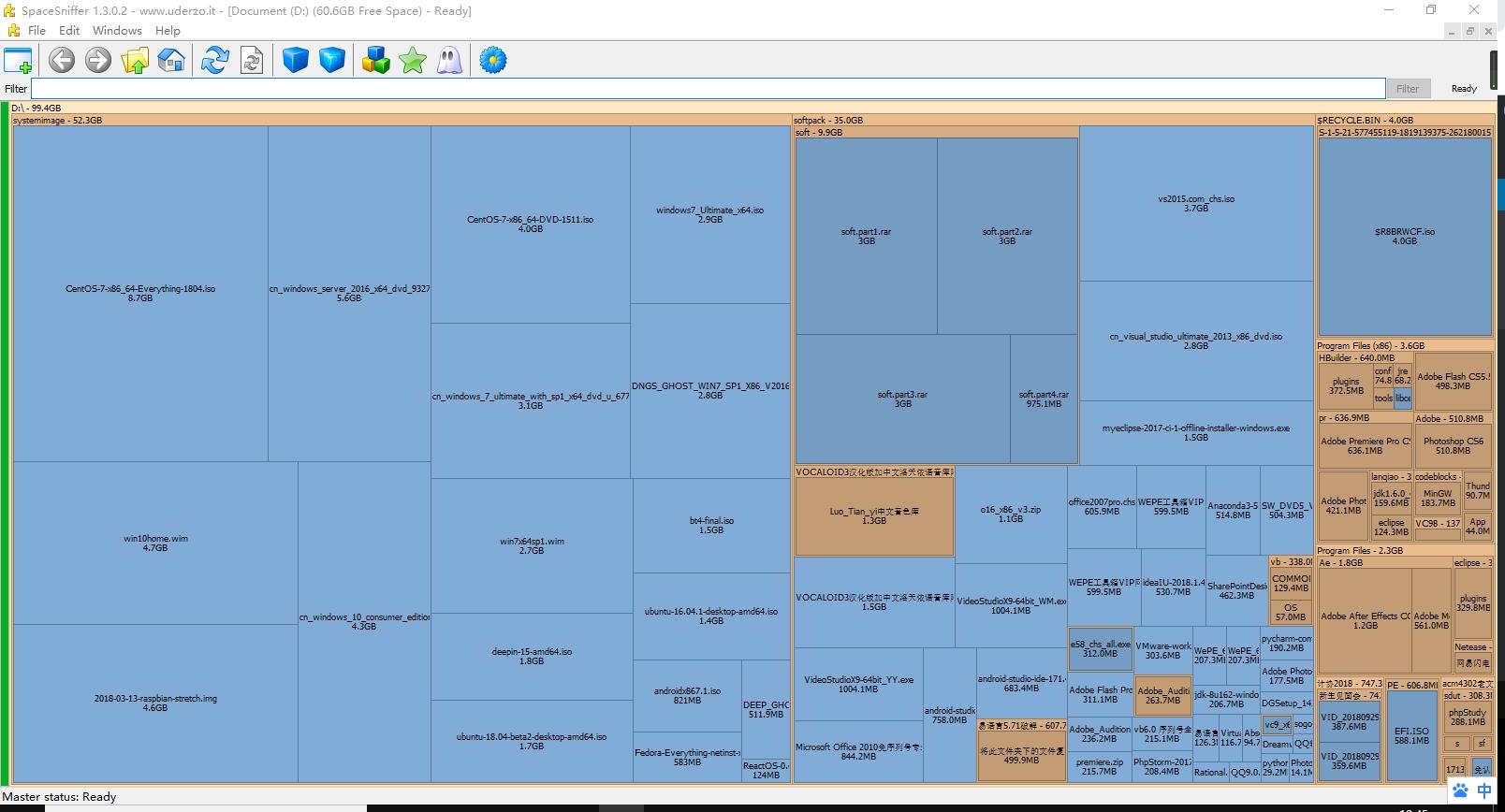 SpaceSniffer-磁盘存储空间可视化管理